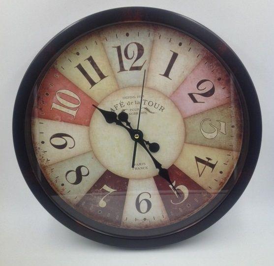 Relógio de Parede Plástico 40 cm Marrom c/ Colorido