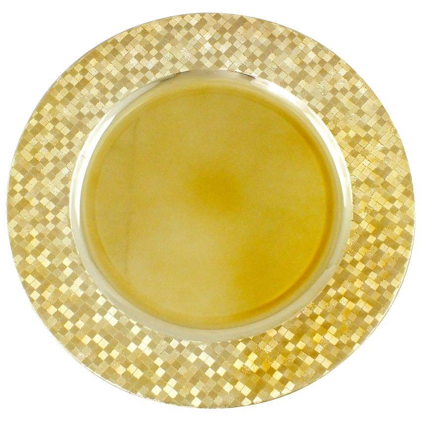Sousplat Nakine Red Dourado com Detalhes Dourados 33Cm