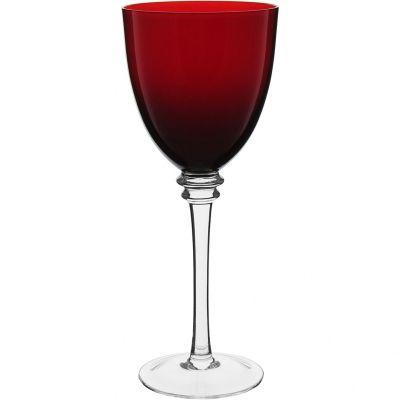 Conjunto Taça Água Vidro 410 ml Vermelho c/ pé Incolor