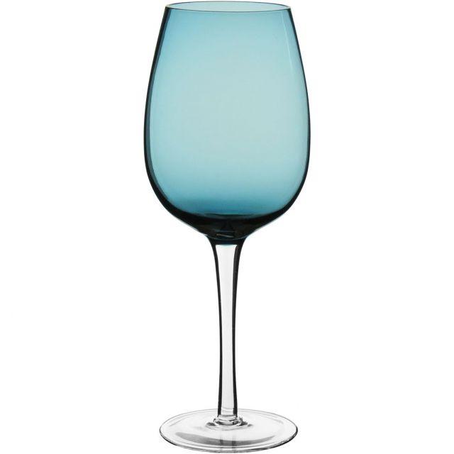 Conjunto Taça Água Vidro Azul c/ pé Incolor