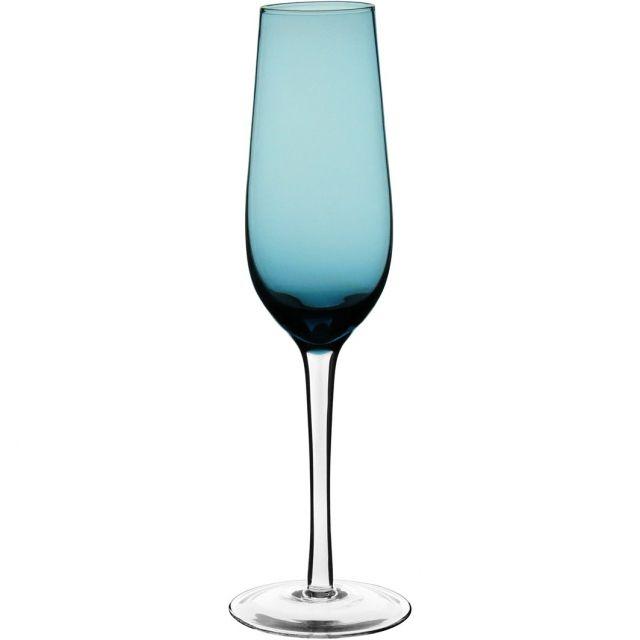 Taça Champ Vidro Azul c/ pé Incolor
