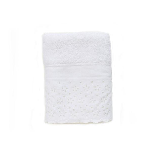 Toalha de Lavabo c/ Aplicação Crystal cor Branco