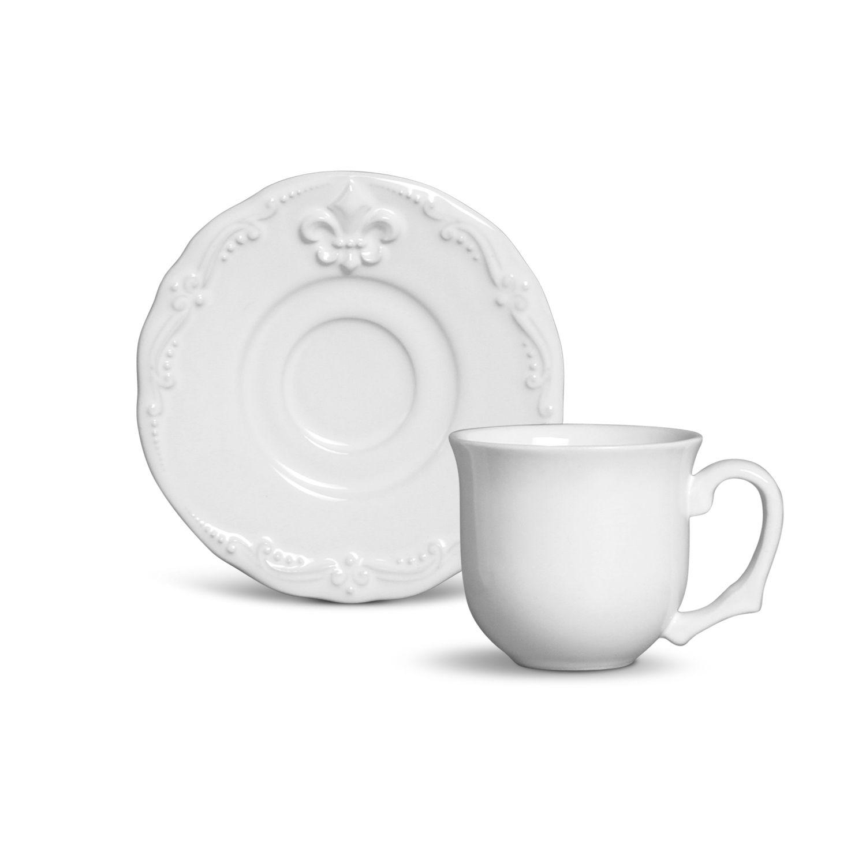 Xicara de Cafe Flor de lis Branco