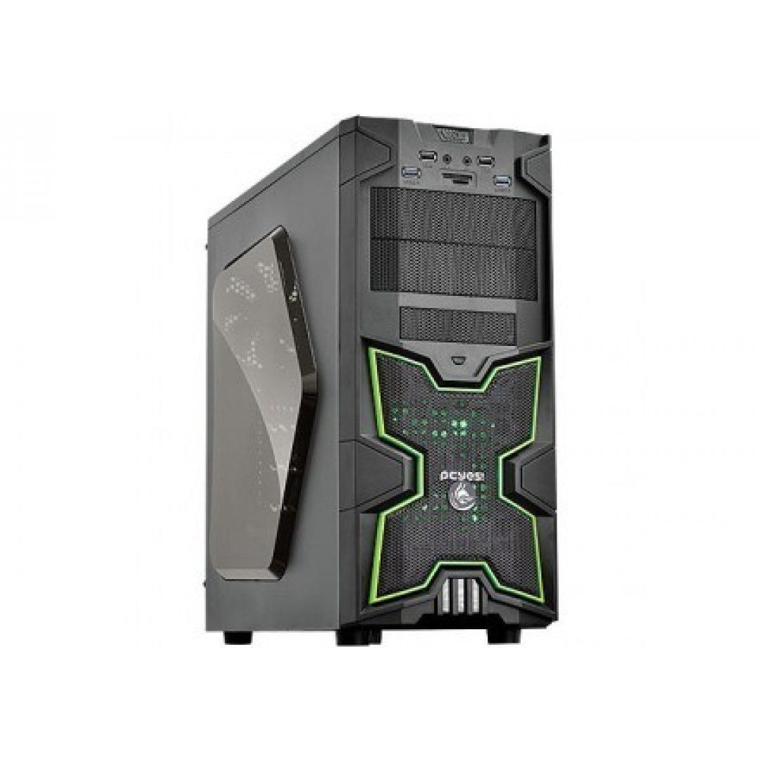 GABINETE GAMER PCYES! FOX C/LED VERDE - BOX