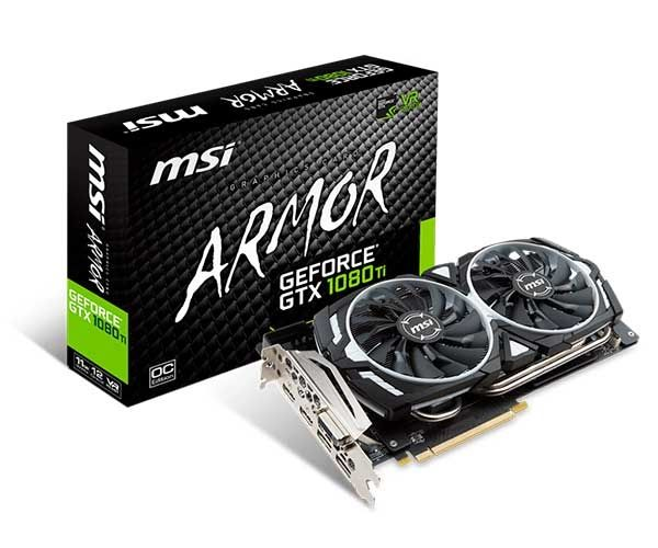 PLACA DE VÍDEO MSI GEFORCE GTX 1080 TI ARMOR OC 11GB GDDR5X 352BIT, 912-V360-010