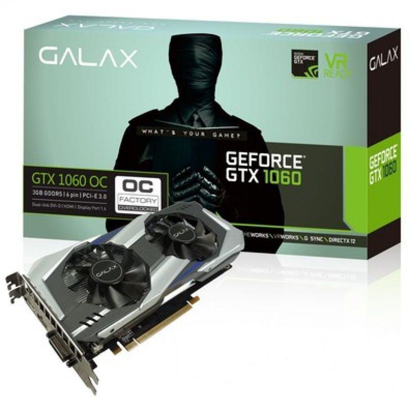 Placa de Video 3GB GTX1060 OC GALAX GDDR5 192BITS 60NNH7DSL9C3