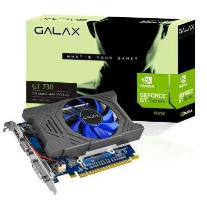 Placa de Vídeo VGA NVIDIA Galax GT 730 2GB GDDR5 64Bits 3200Mhz DVI/HDMI/VGA 73GPH4HXB2TV