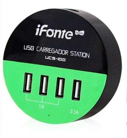 Carregador Hub USB 4 Portas 25w 5v com Cabo Bipolar Infokit UCS-100