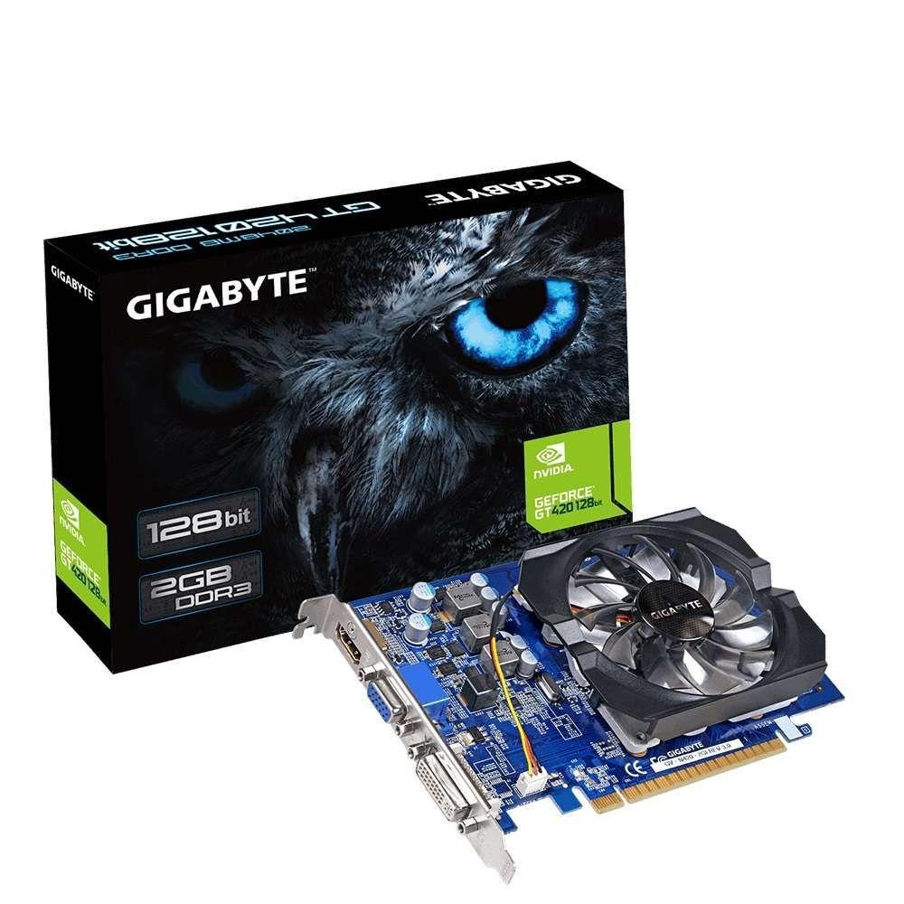 Placa de Vídeo Gigabyte GeForce GT 420 2GB DDR3 128 Bits - GV-N420-2GI