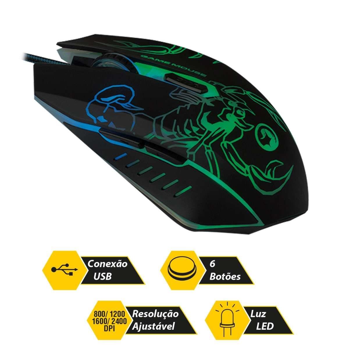 Mouse Gamer Óptico Light USB 2400 Dpi 0447 Bright