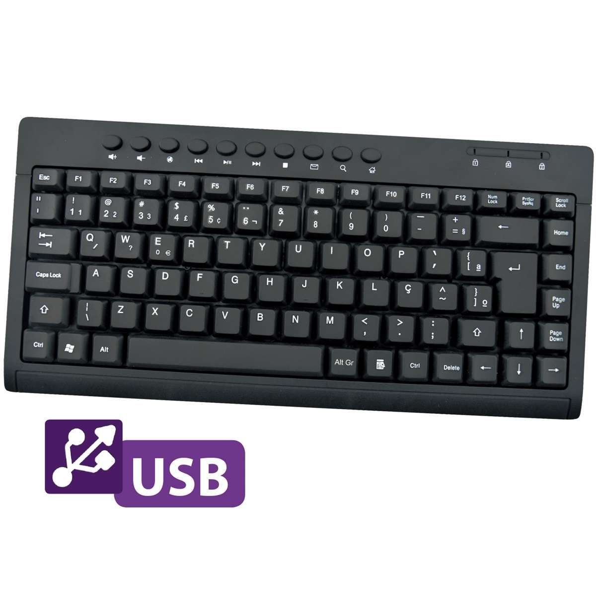 Teclado Mini Multimídia USB Preto 0084 - Bright