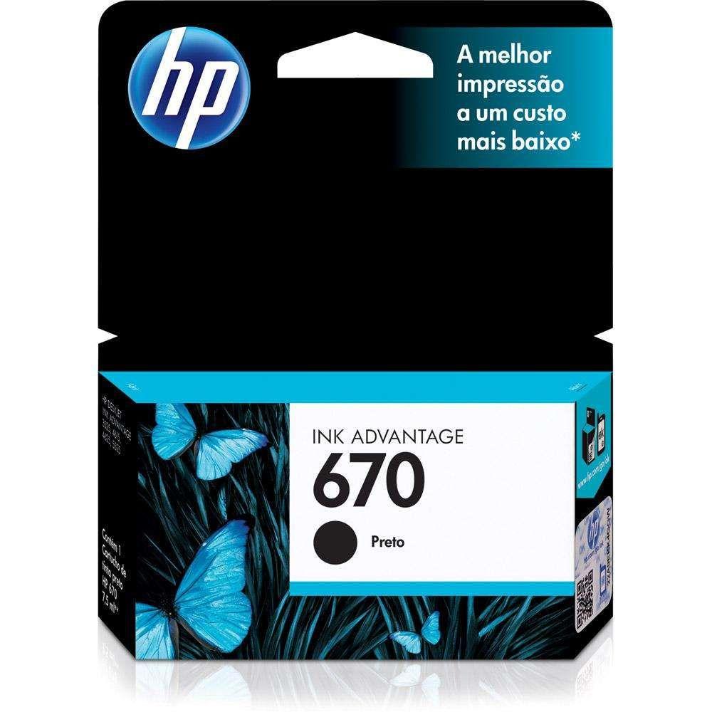 Cartucho de Tinta HP 670 CZ113AB Preto 7,5 ml