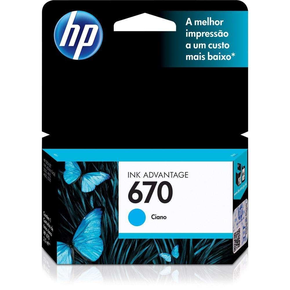 Cartucho de Tinta HP 670 CZ114AB Ciano 7,5 ml