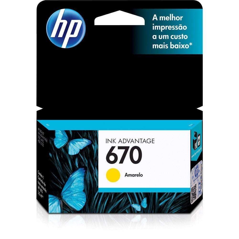 Cartucho de Tinta HP 670 CZ116AB Amarelo 7,5 ml