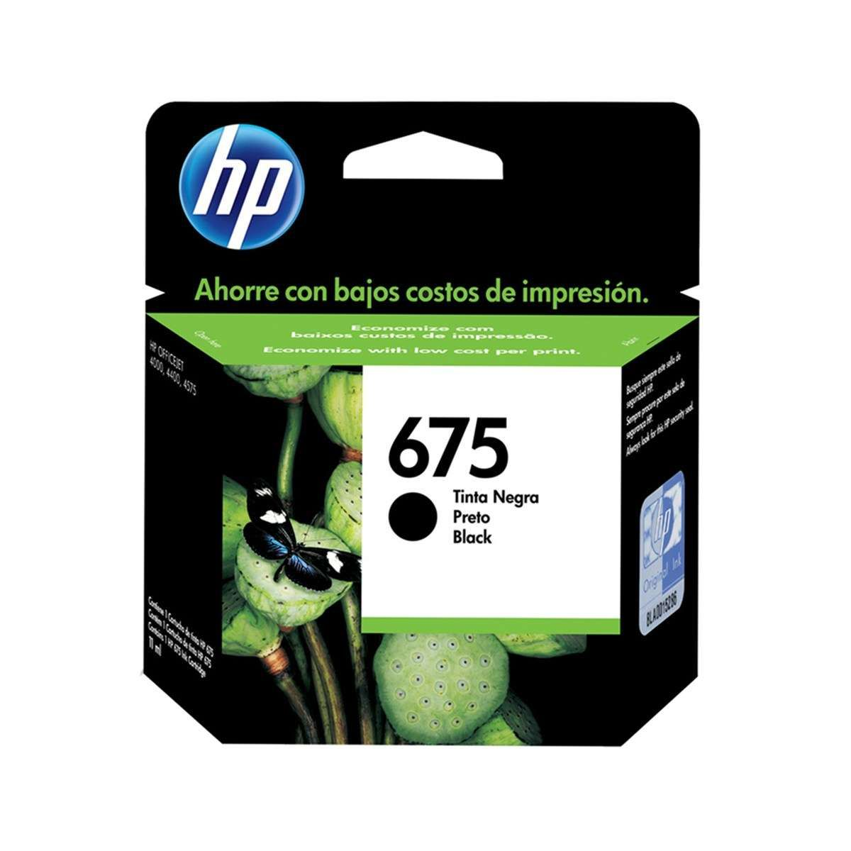 Cartucho de Tinta HP 675 CN690AL Preto 13,5 ml