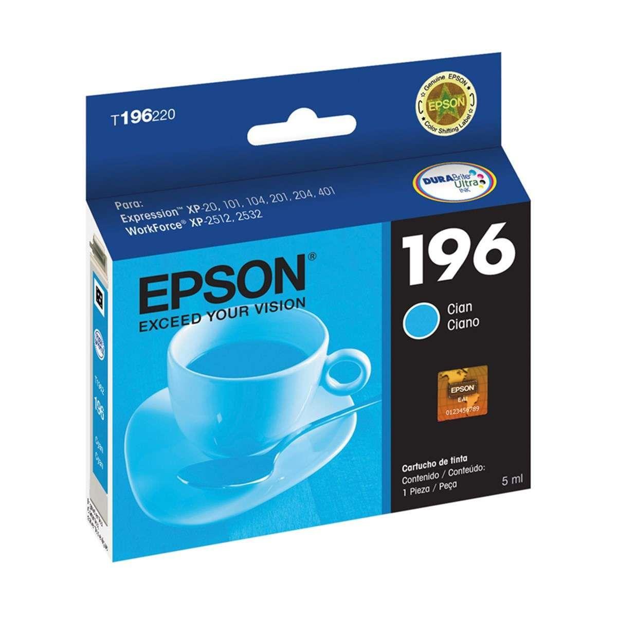 Cartucho de Tinta Epson T196220-BR Ciano 4 ml