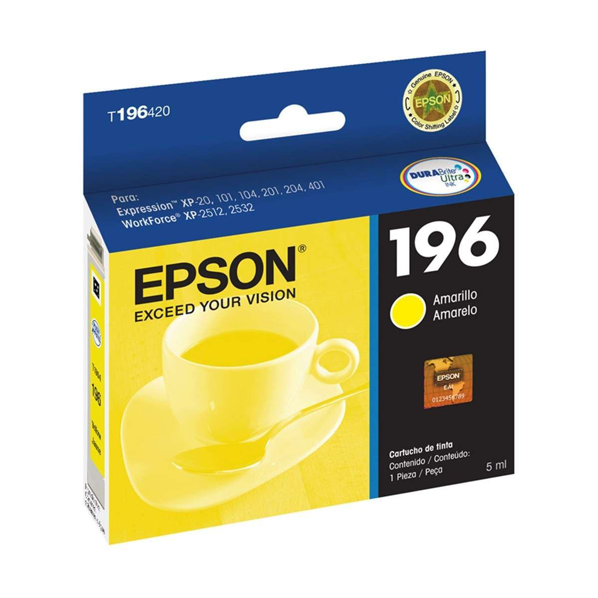 Cartucho de Tinta Epson T196420-BR Amarelo 4 ML
