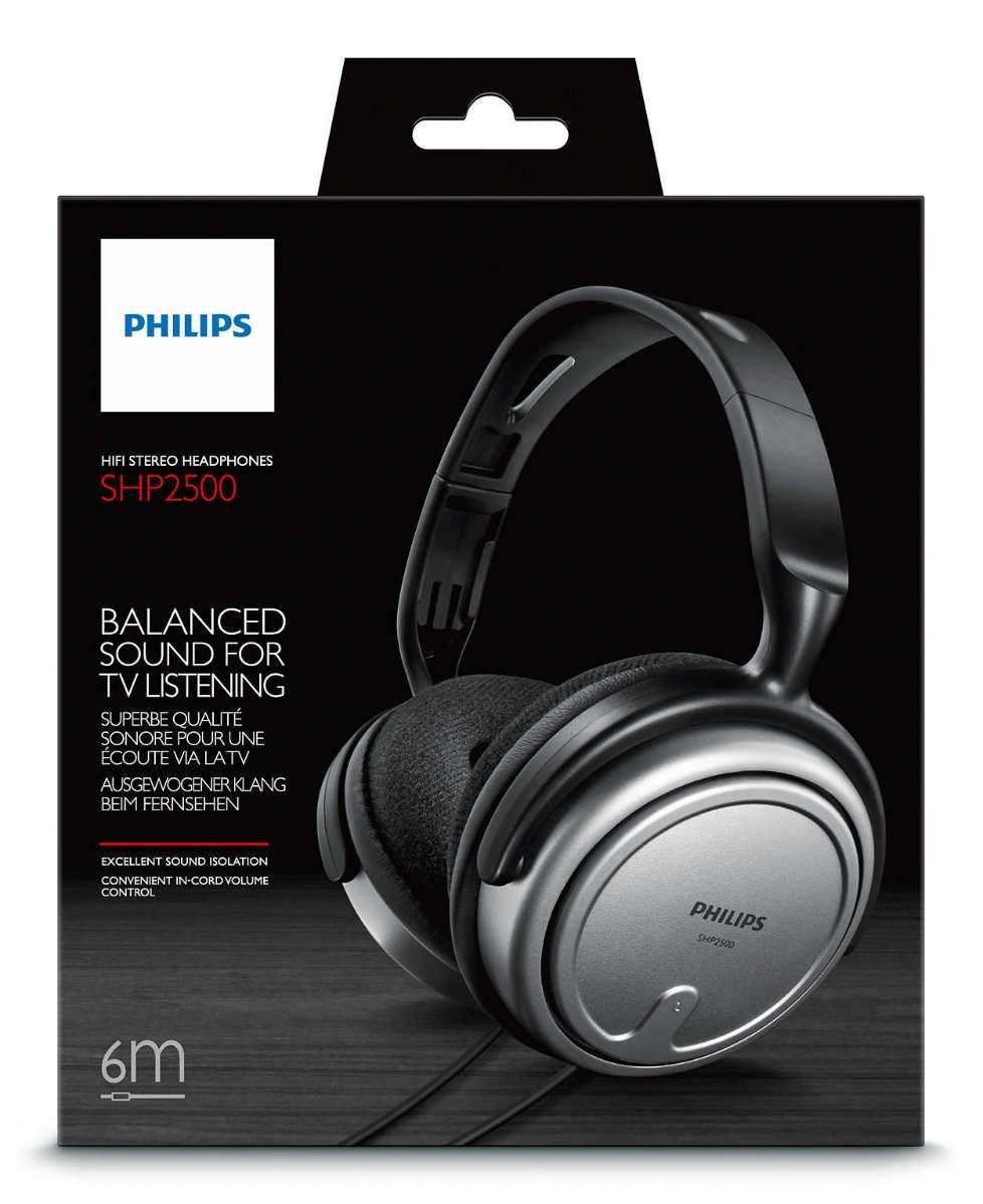 Headphone Philips Stereo TV SHP2500/10 Prata