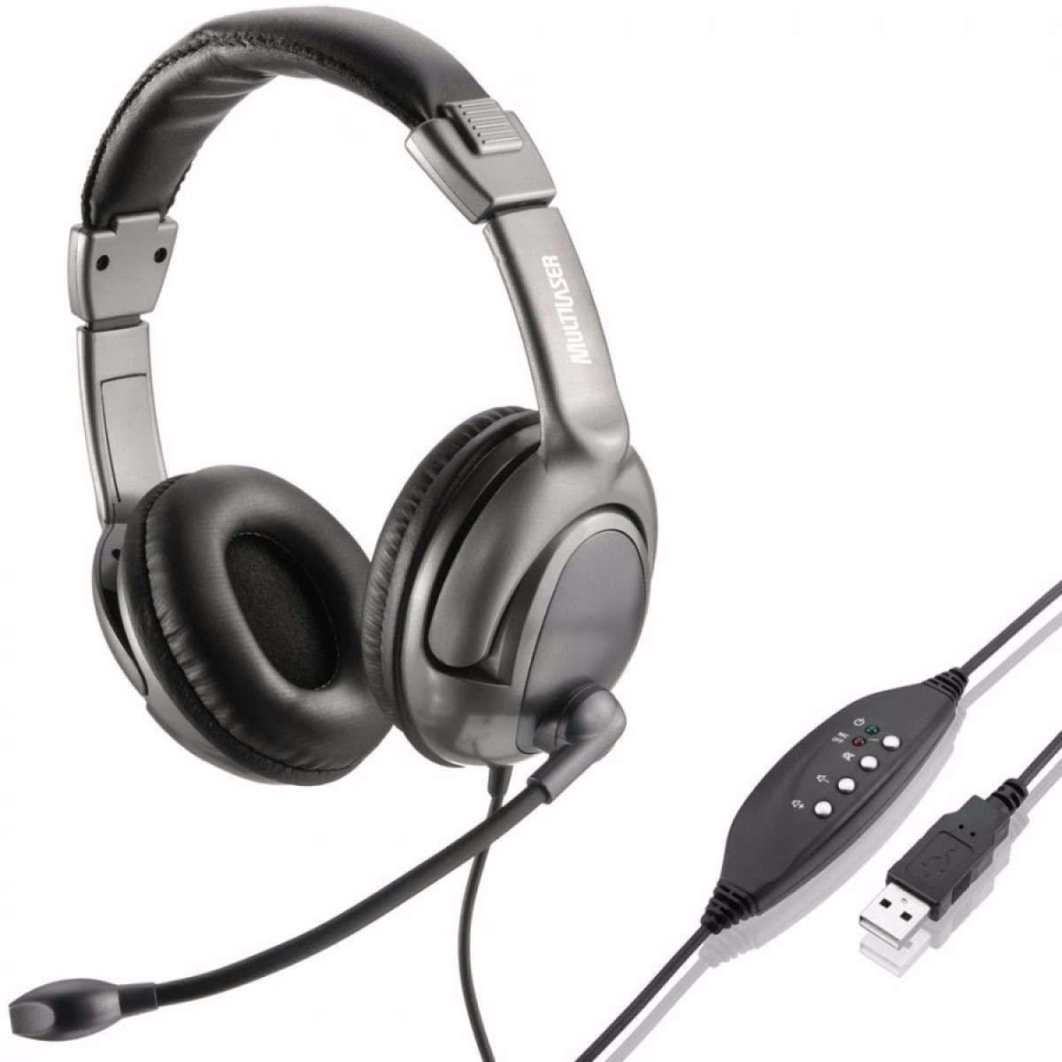Headset Multilaser Acoustic Flexível USB PH043 Preto