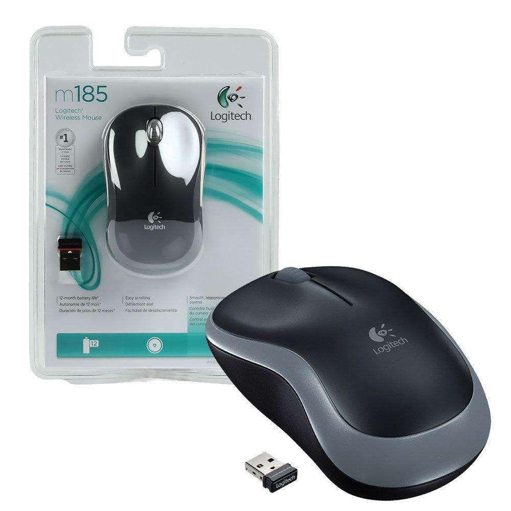 Mouse Logitech Sem Fio M185 Cinza - 910-003243