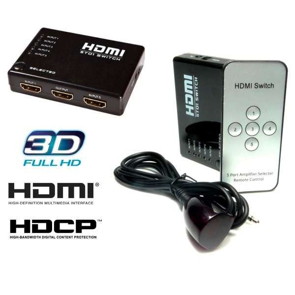 Switch Hdmi 5 Portas Splitter Full Hd + Controle Remoto AC-3