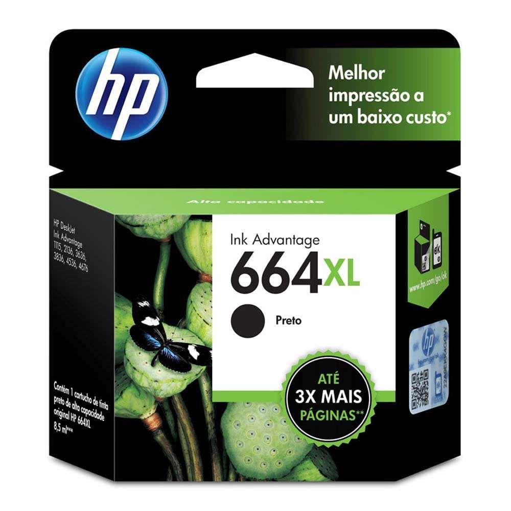 Cartucho de Tinta HP 664XL F6V31AB Preto 8.5ml