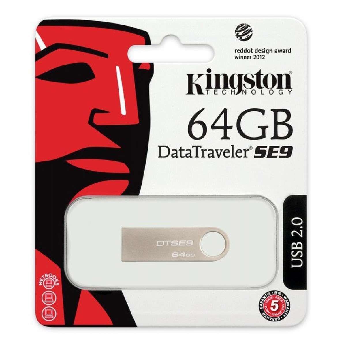 Pen Drive Kingston DataTraveler SE9 64GB USB 2.0 DTSE9H/64GB - Prata