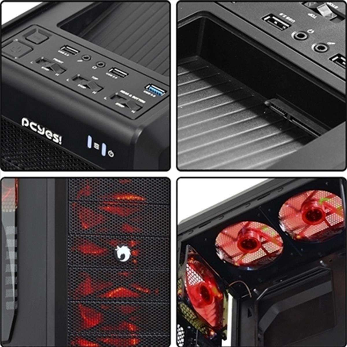 Gabinete Pcyes Gamer Bizon USB 3.0 LED Vermelho
