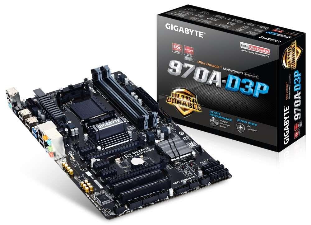 Placa Mãe Gigabyte p/ AMD AM3+ ATX GA-970A-D3P, CrossFireX, UEFI DualBIOS, DDR3, SATA 6Gb/