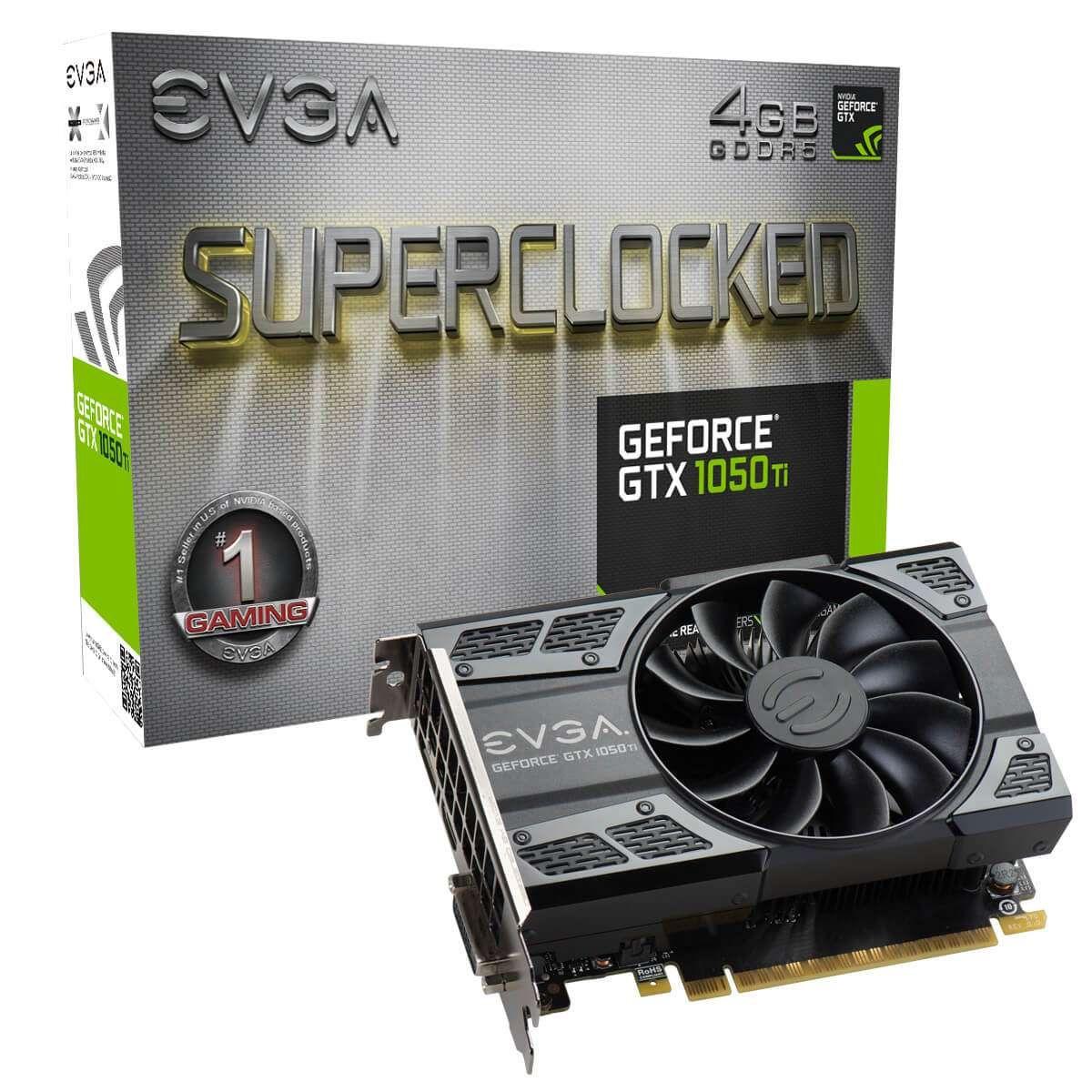 Placa de Vídeo eVGA GeForce GTX 1050TI 4GB SC ACX DDR5 128 Bits - 04G-P4-6253-KR