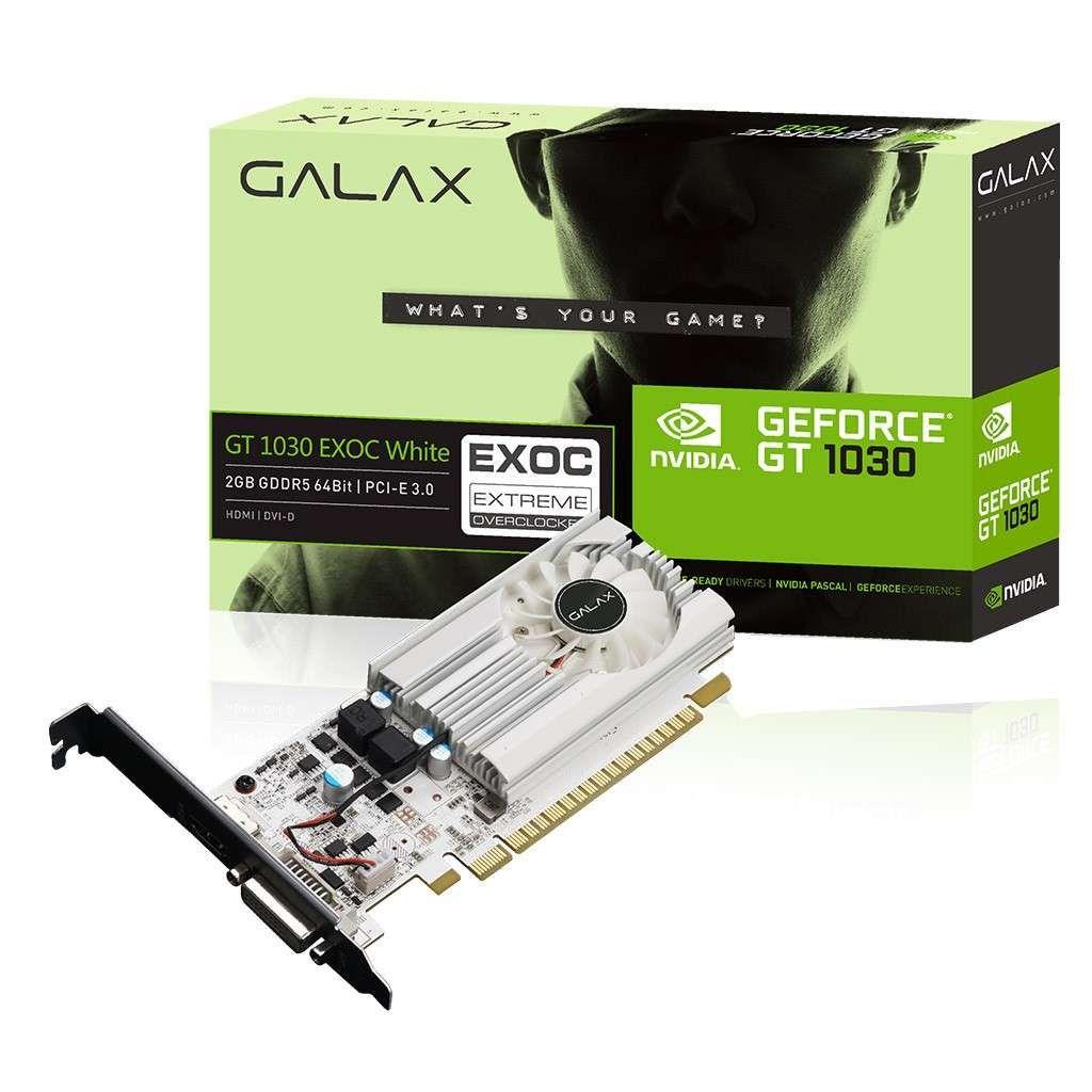 Placa de Vídeo NVIDIA Galax GT 1030 2GB DDR5 64Bits Exoc - 30NPH4HVQ5EW
