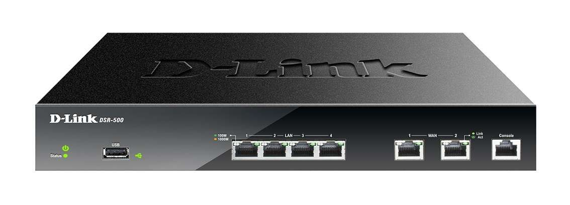 Roteador D-Link Load Balance Dual Wan Vpn Firewall Gigabit Com Rip/Ospf - Dsr-500