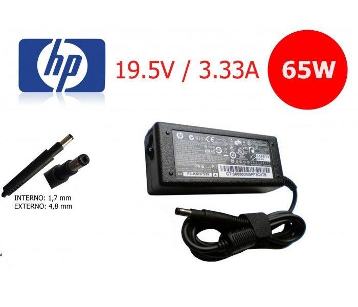 Fonte para Notebook  HP 19.5V 3.33A 65W Pino 4.8x1.7mm  -  Compatível