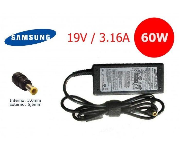 Fonte para Notebook Samsung 19V 3.16A 60W Pino 5.5x3.0mm Compatível