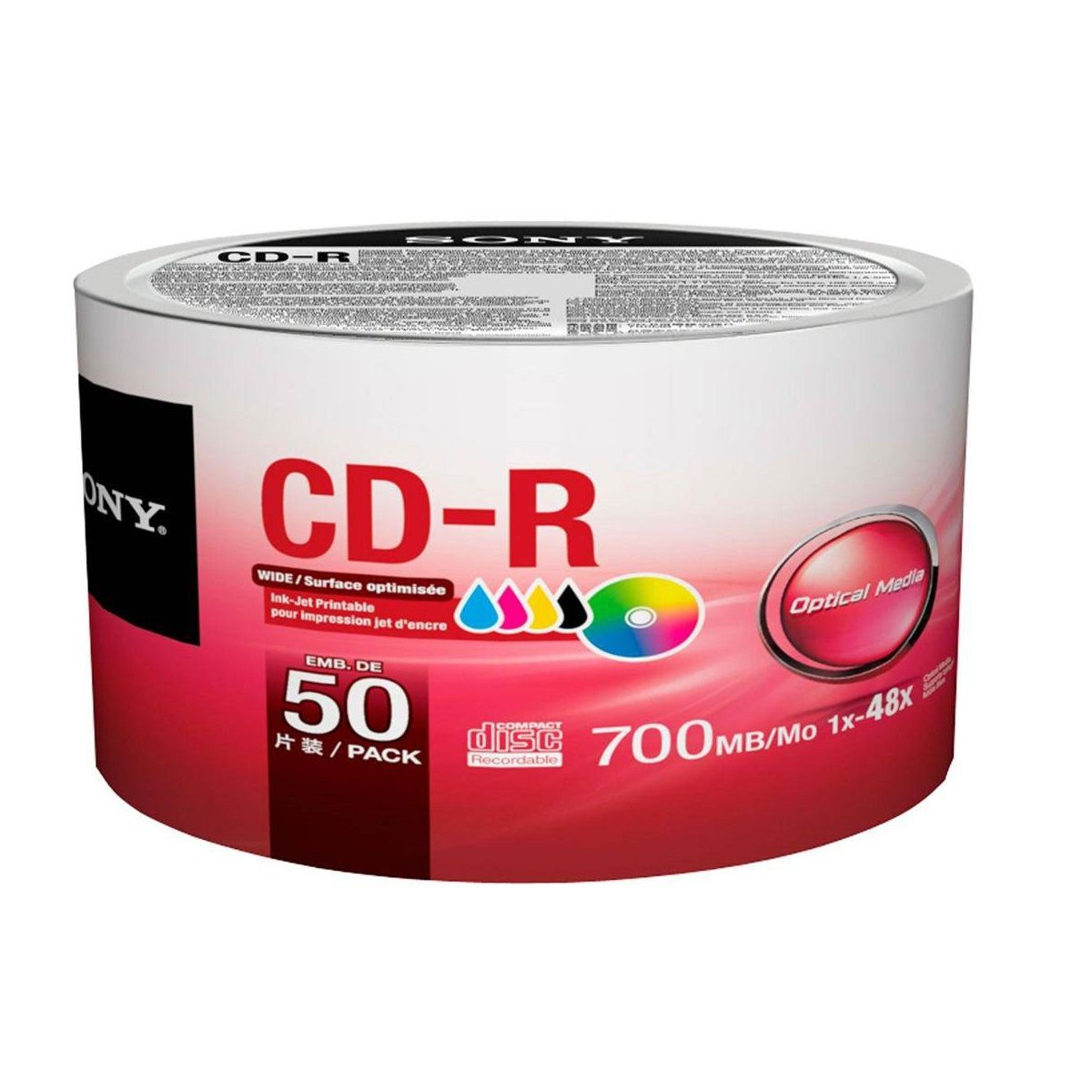 Cd-R Sony Bulk Printable 80min 700mb 48x - 50 Unidades