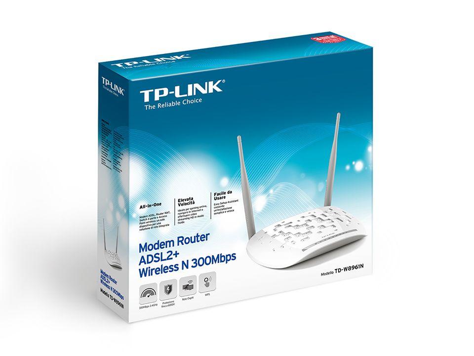 Modem ADSL2 + Roteador Wireless 300Mbps TD-W8961N Tp-Link
