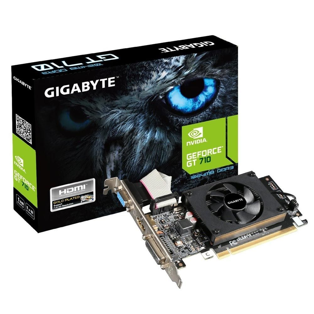 Placa de Vídeo Gigabyte Geforce GT 710 1GB DDR3 64Btis - (GV-N710D3-1GL REV. 2.0)