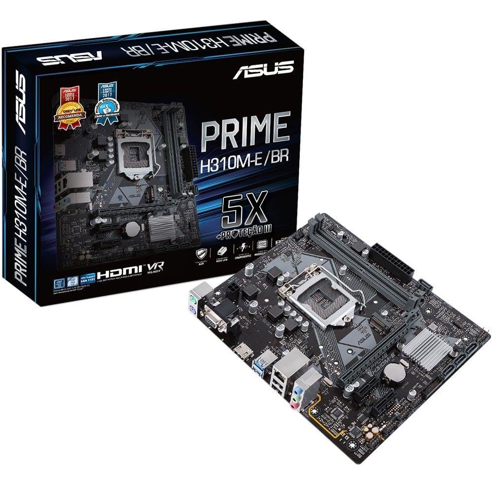 Placa Mãe ASUS p/ Intel LGA 1151 mATX PRIME H310M-E/BR DDR4, VGA/HDMI, USB 3.1, 8ª Ger.