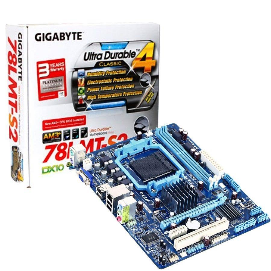 Placa Mãe Gigabyte p/ AMD AM3+ mATX GA-78LMT-S2, DDR3, VGA, RAID, suporta FX/Phenom/Athlon