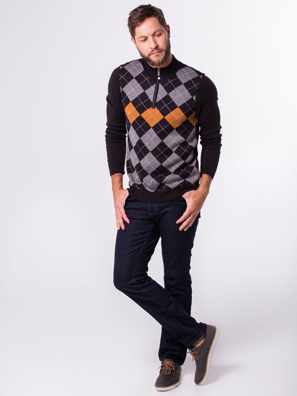 Suéter Polo com Ziper