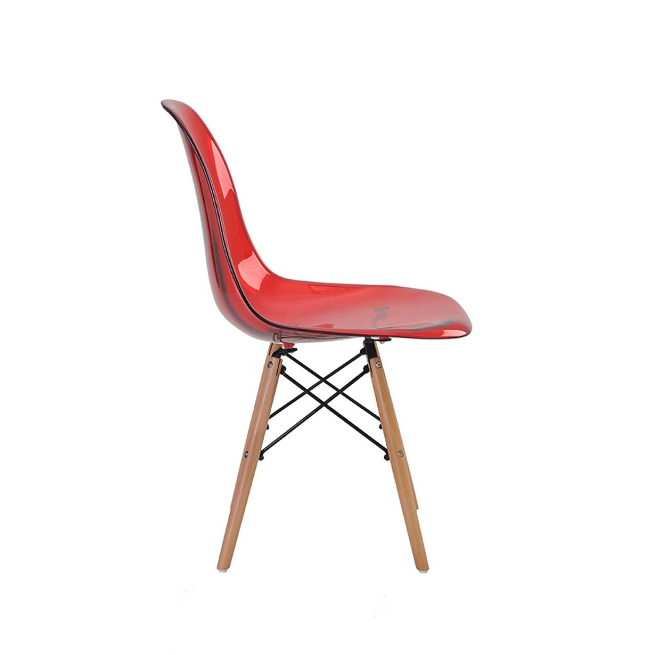 Cadeira Eames Eiffel Rivatti sem braço PC Base Madeira