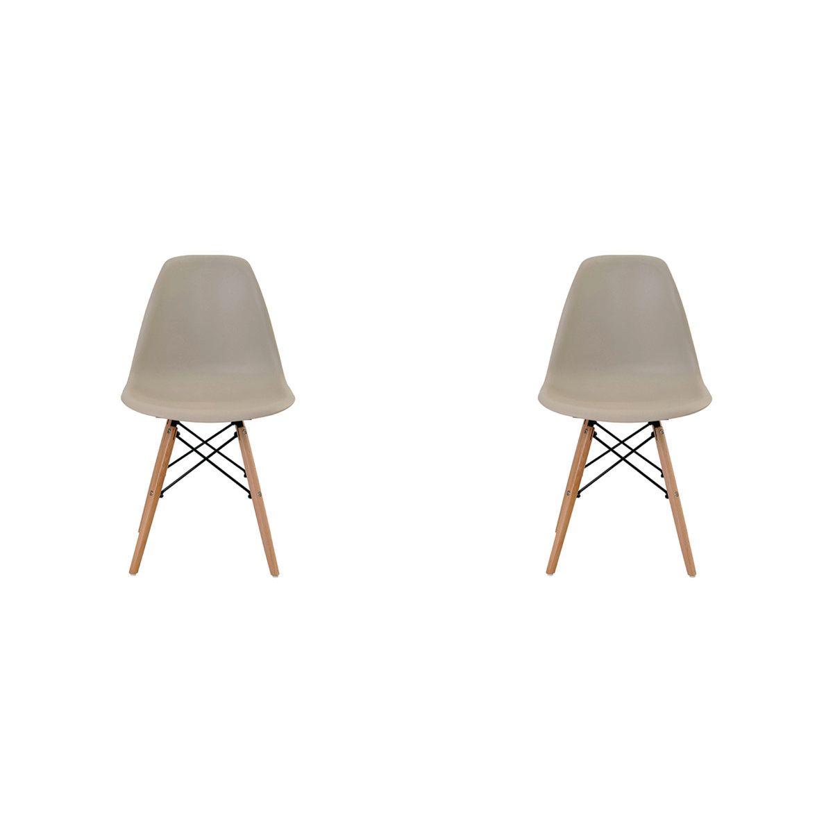 Conjunto 2 peças Cadeira Eames Eiffel Rivatti sem braço PP Base Madeira