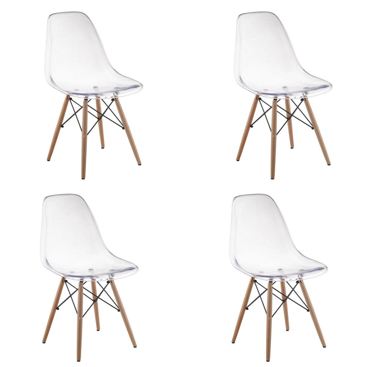 Conjunto 4 peças Cadeira Eames Eiffel Rivatti sem braço PC Base Madeira