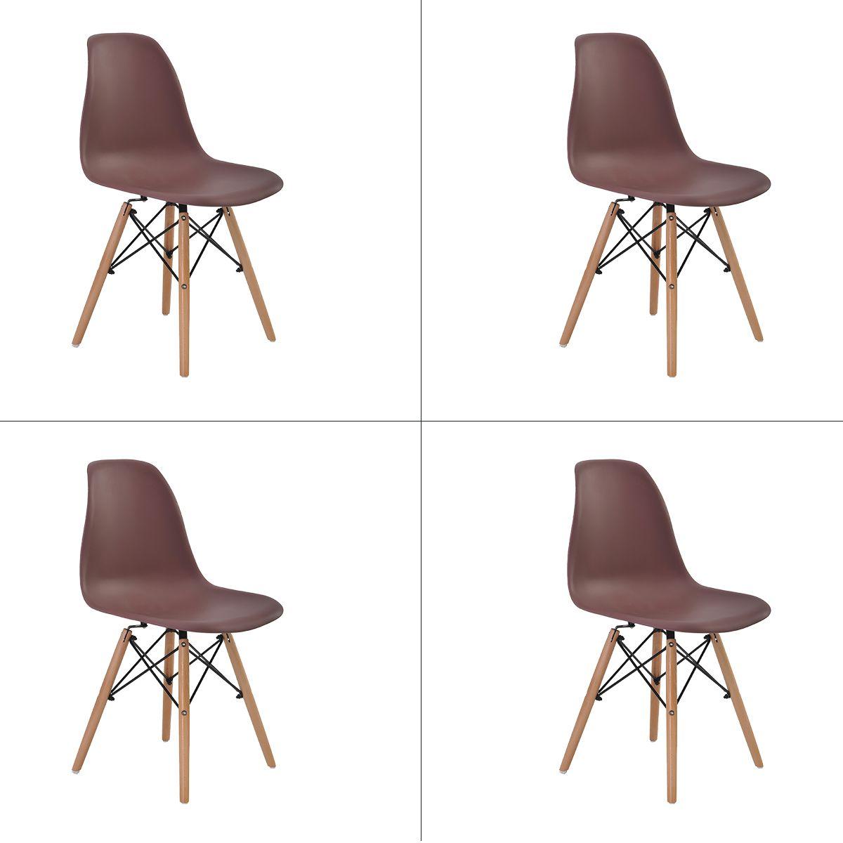 Conjunto 4 peças Cadeira Eames Eiffel Rivatti sem braço PP Base Madeira