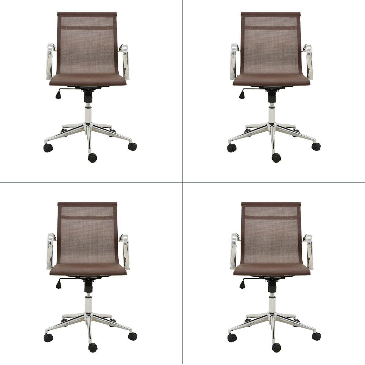 Conjunto 4 peças Cadeira Eames Sevilha Rivatti Baixa Tela