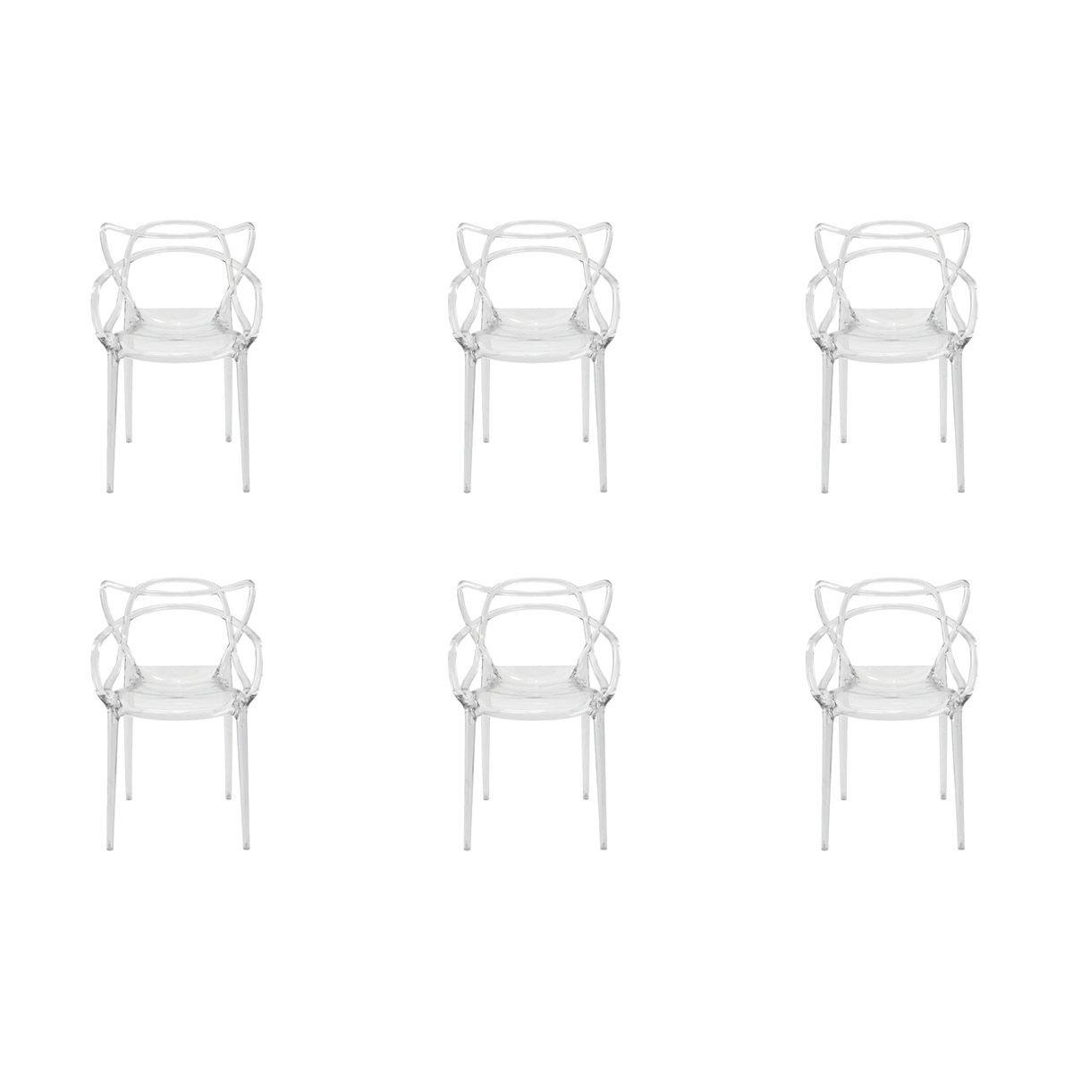 Conjunto 6 peças Cadeira Allegra Masters de Policarbonato Rivatti