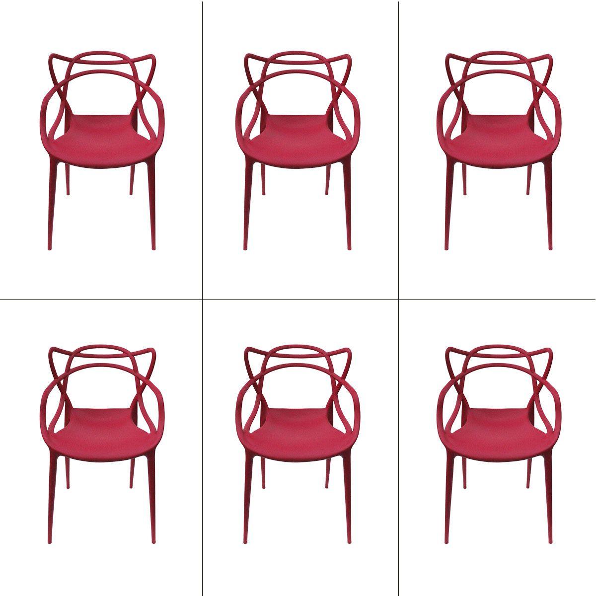 Conjunto 6 peças Cadeira Allegra Masters de Polipropileno Rivatti
