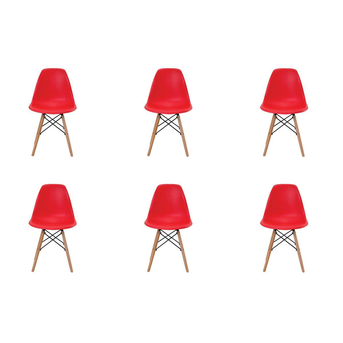 Conjunto 6 peças Cadeira Eames Eiffel Rivatti sem braço PP Base Madeira