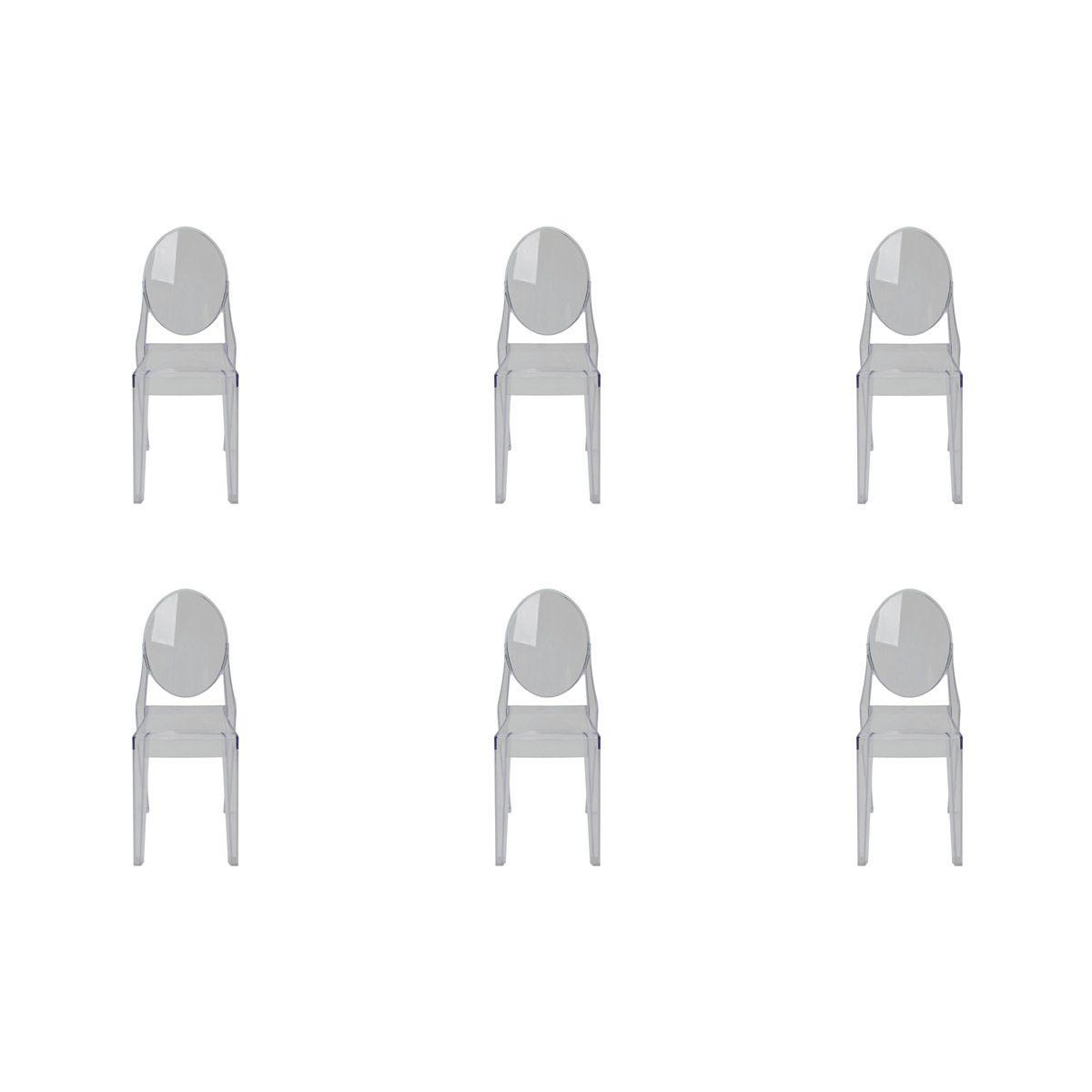 Conjunto 6 peças Cadeira Ghost Sofia Rivatti sem braço