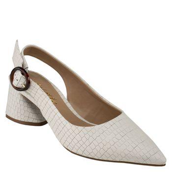 a9caf6d1f0 Encontre Sapatos Femininos confortáveis e sofisticados. Scarpin Delotto  Baixo Sling Back Couro Croco Branco